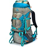 50L External Frame Climbing Bags, CR Air Frame 600D Nylon Hiking Travel Outdoor Backpack, with Rain Cover