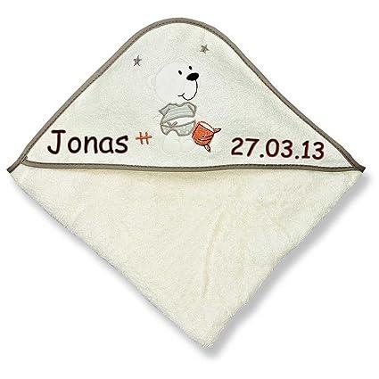 Con capucha toalla de mano con nombre bordados 100 x 100 cm de regalo para bautismo