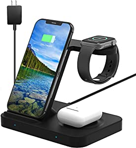 OMMO Wireless Charger, 3 in 1 Qi Wireless Charger for Apple Watch 5 4 3 2 1, AirPods 2/Pro, iPhone 11/11 Pro/Xs/8/8 Plus, Samsung S10 S9 S8 S20, Note 10/9/8/20 & More, with QC3.0 Adapter