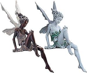 Fairy Sitting Garden Ornament, Garden Decorative Statue, Fairy Statue Sitting, Resin Garden Ornament