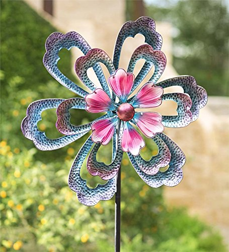 Oversized Blue Flower Metal Wind Spinner