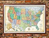 united states cork map - 32x50 Rand McNally United States USA Classic Push-Pin Travel Wall Map Foam Board Mounted or Framed (Walnut Framed)