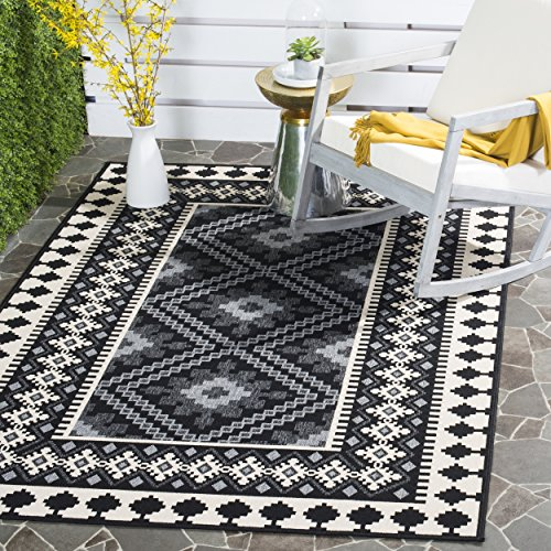 Southwestern Patio Furniture - Safavieh Veranda Collection VER099-0421 Indoor/ Outdoor Black and Cream Southwestern Area Rug (6'7