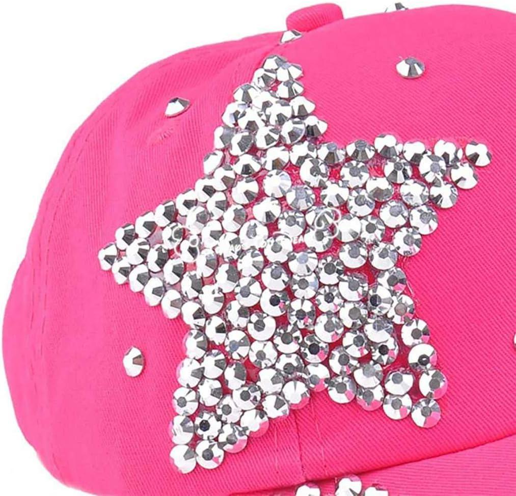 Junecat Bambini Fashion Star Regolabile Strass Studded Visiera del Cappello Glitter Luccicanti Baseball cap Cotton