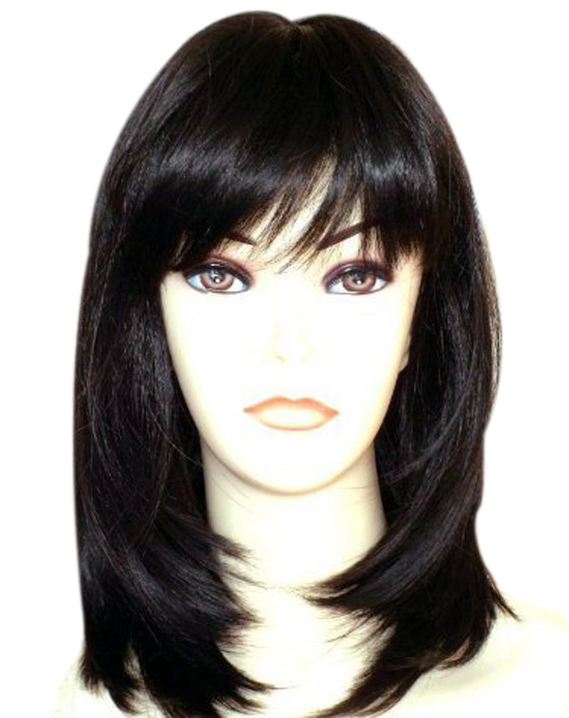 Kalyss Women's Shoulder Length Layers Straight Flat Hair bangs Heat Resistant Black Synthetic Hair Wig