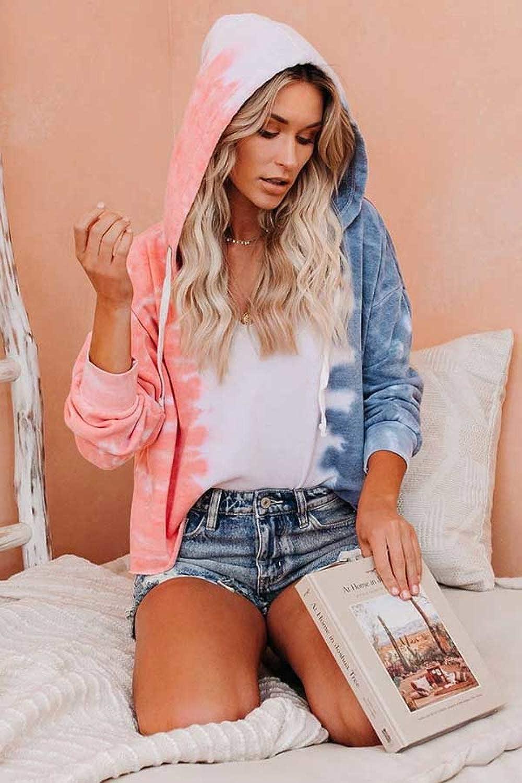 KAKALOT Womens Casual Tie Dye V Neck Long Sleeve Loose Pullover Sweatshirt Tops