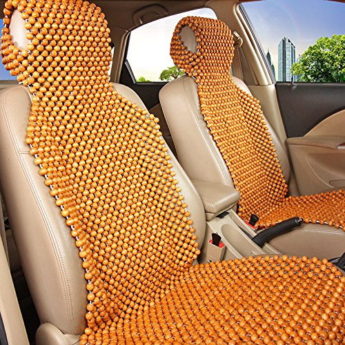 Car Seat Cushion,EFORCAR Wood Bead Front Seat Covers Natural Beaded Rear Seat Massage Wooden Chair Cushion 3Pcs/Set (Coffee) (Chair Set Massage)