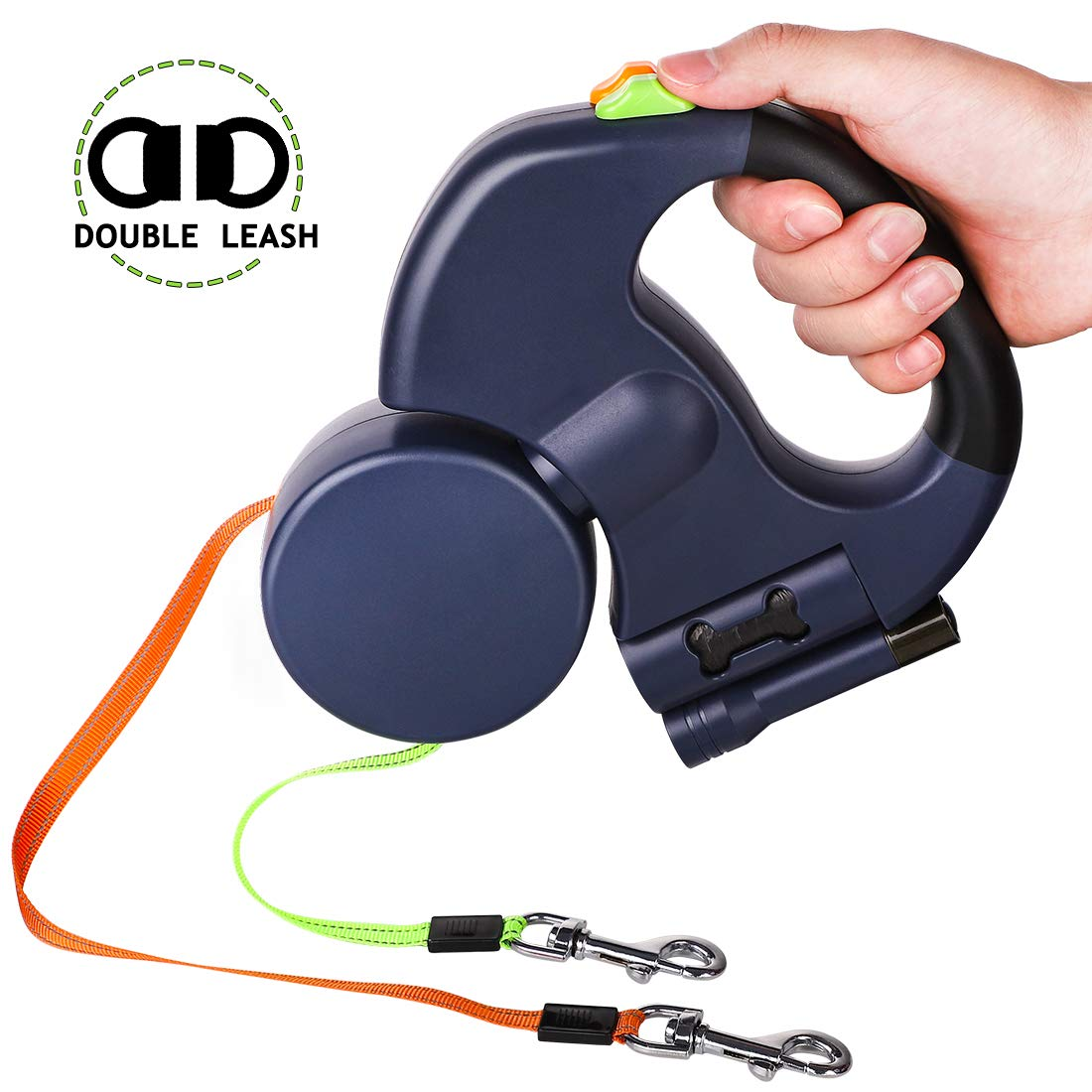 Double Retractable Dog Leash with two 3 Meters Extra Long Cords- Retractable Pet Leash for Walking 2 Dogs Up to 50lbs Each- with Poop Bag Dispenser and LED Light - Best Heavy Duty Retractable Leash by ZDZDZ