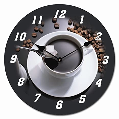RELOJ DE PARED DISENO ESPRESSO CAFE EXPRESO RELOJ DE COCINA DECORACION 30CM MODERNO - Tinas Collection
