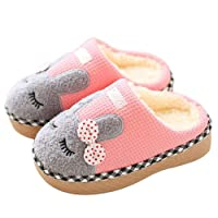 SITAILE Cute Home Shoes, Girls Boys Fur Lined Indoor House Slipper Bunny Warm Winter Toddler Slippers