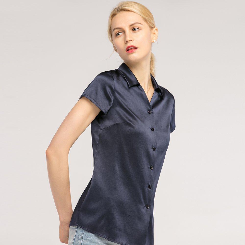 Basique T Shirt Col Boutonné 19mm V Lilysilk En Soie cK1FTlJ