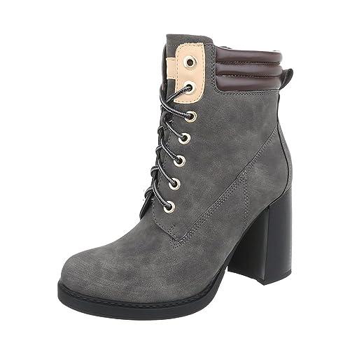 c1d6db006163bd Ital-Design Schnürstiefeletten Damen-Schuhe Schnürstiefeletten Pump  Schnürer Reißverschluss Stiefeletten Grau