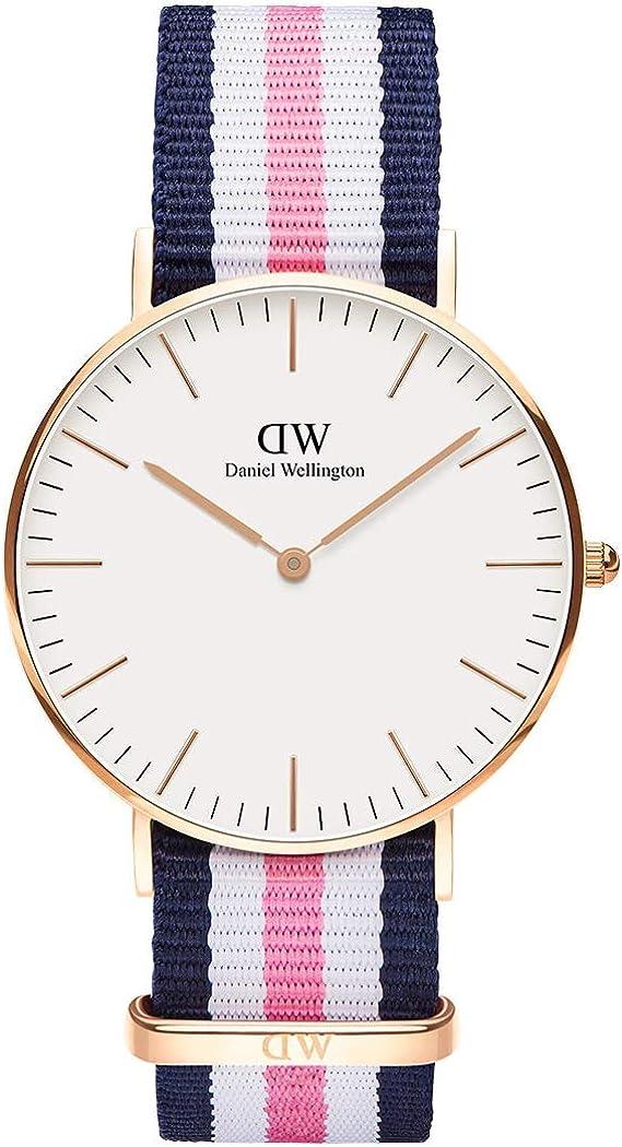 Daniel Wellington Classic Southampton Reloj , Unisex, NATO, Azul-Rosa-Blanco/Oro Rosado, 36mm: Amazon.es: Relojes