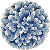 Area Rugs - Blue Chrysanthemum Indoor Outdoor Rug - 5 Round