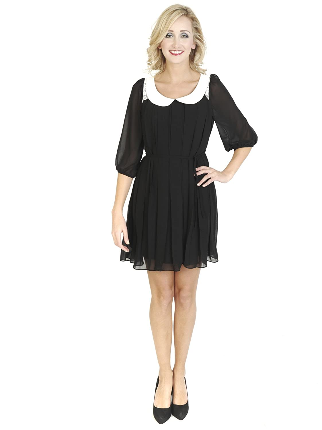 Black Bielle Knee Length Midi 3/4 Sleeve Simple Collared Lace Back Shift Day Dress