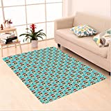 Nalahome Custom carpet Skulls Decorations Christian Cross And Roses On Skull Pattern Mexican Vintage Style area rugs for Living Dining Room Bedroom Hallway Office Carpet (6.5' X 10')