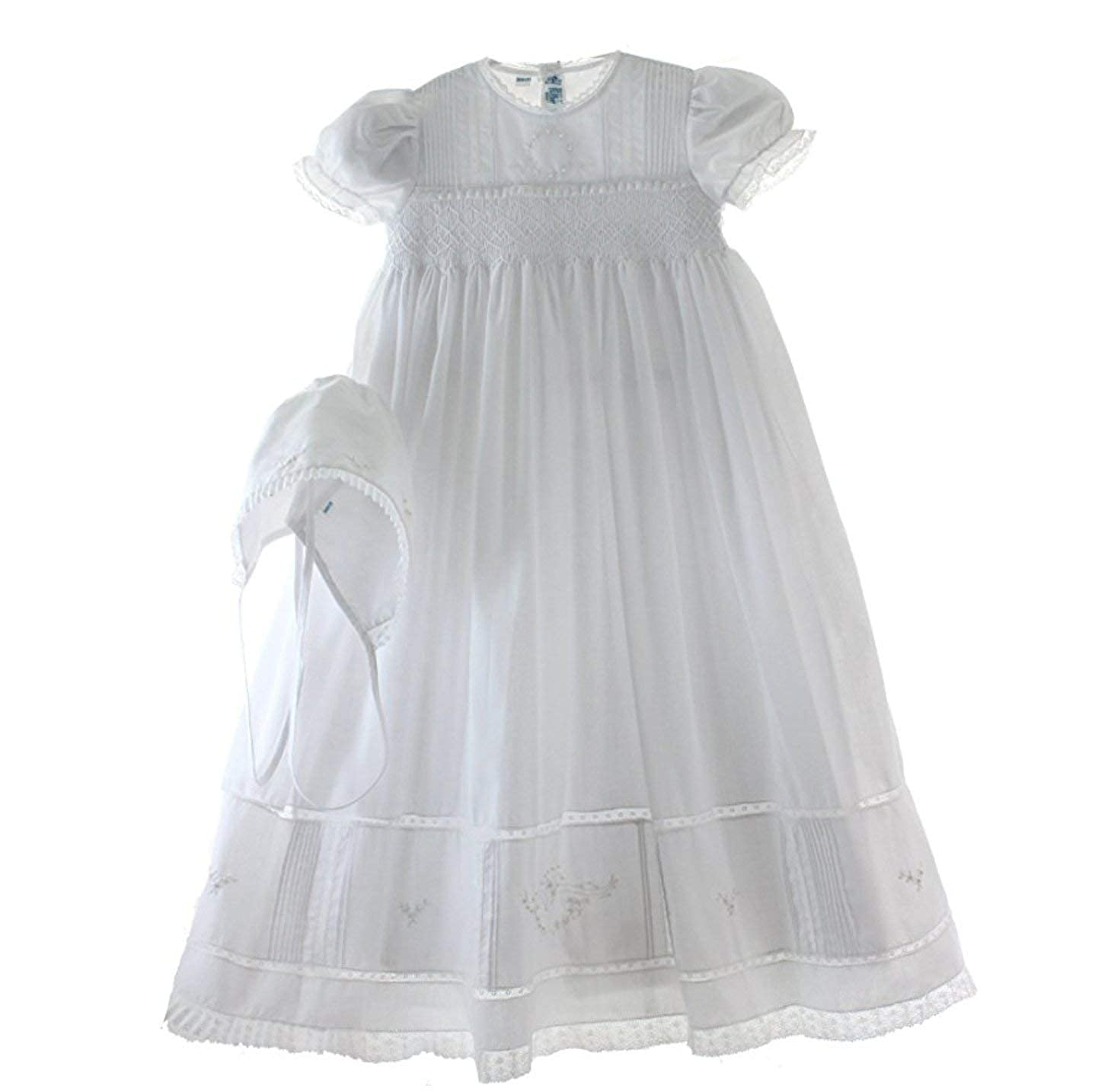 Image of Girls White Smocked Christening Baptism Gown Bonnet Set with Pearls
