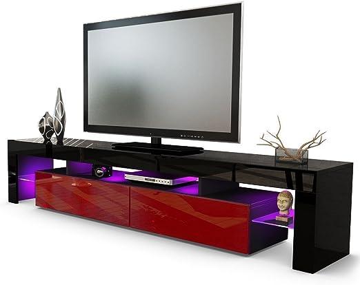 Helios 200 Moderno TV Unidad de Entretenimiento para Sala de Estar/mesas para TV, Muebles de TV/Color Negro y Burdeos: Amazon.es: Hogar