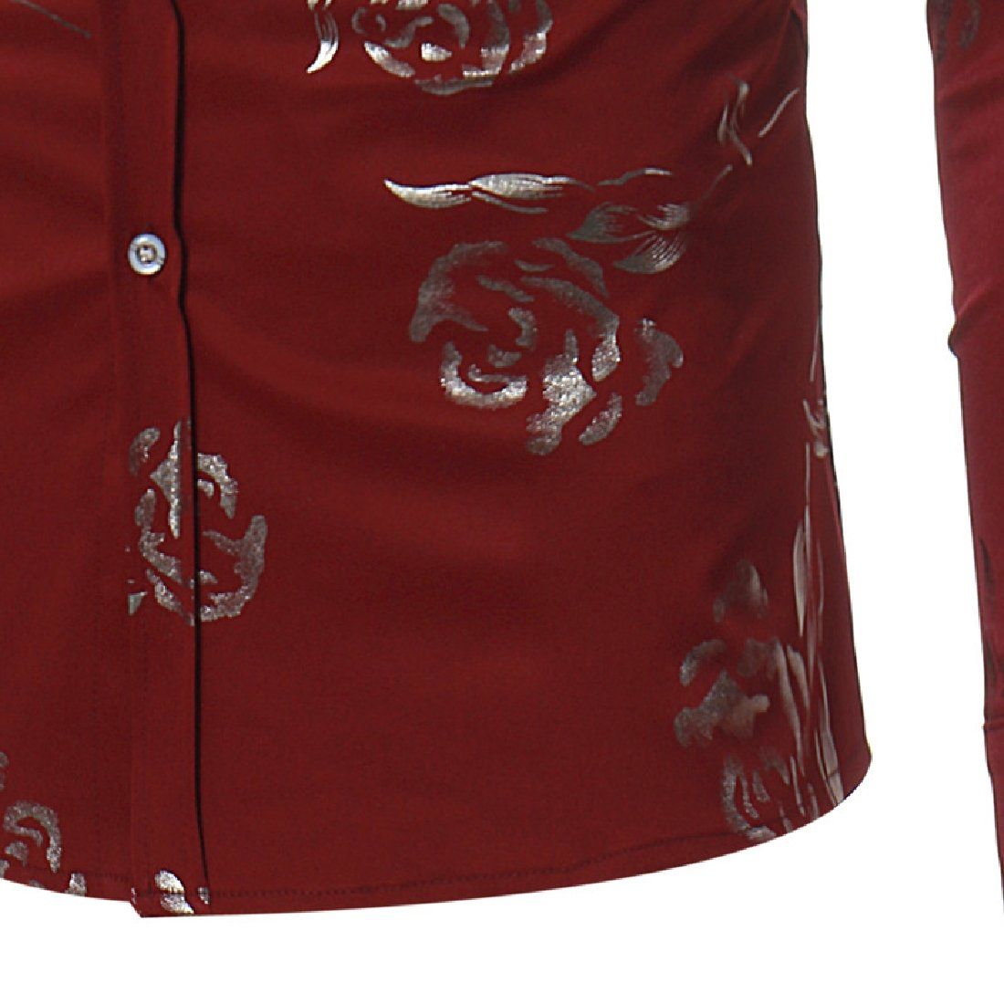 YUNY Mens Floral Shirts Gold Rose Printed Slim Fit Long Sleeve Dress Button Down Shirts Wine Red L