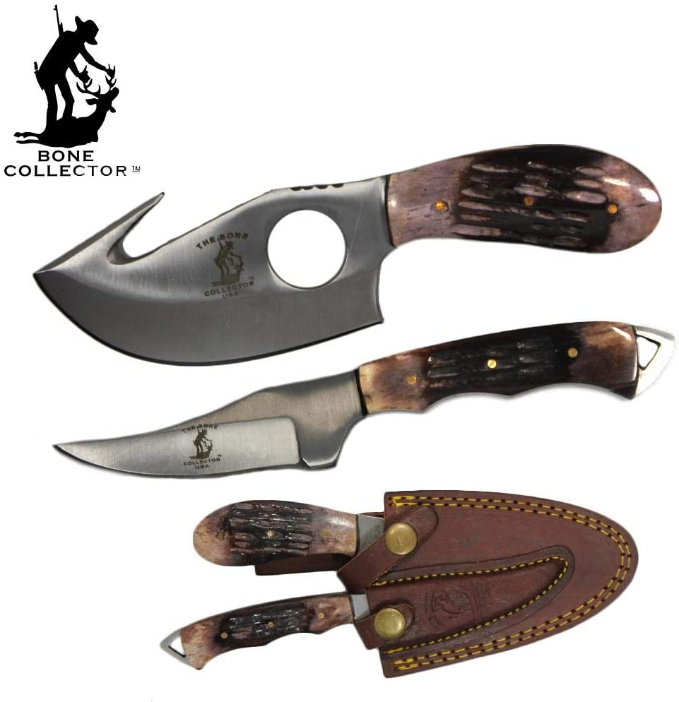 Bone Collector Hunting Knife Two Piece Set, 7 Straight Edge and 7 Gut Hook Blades Yellow Bone Full Tang Skinner Bone