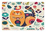 Ambesonne Paisley Pet Mat for Food and Water, Little Smiling Chubby Cheek Cat Animal with Various Oriental Leaf Flower Artwork, Rectangle Non-Slip Rubber Mat for Dogs and Cats, Multicolor For Sale