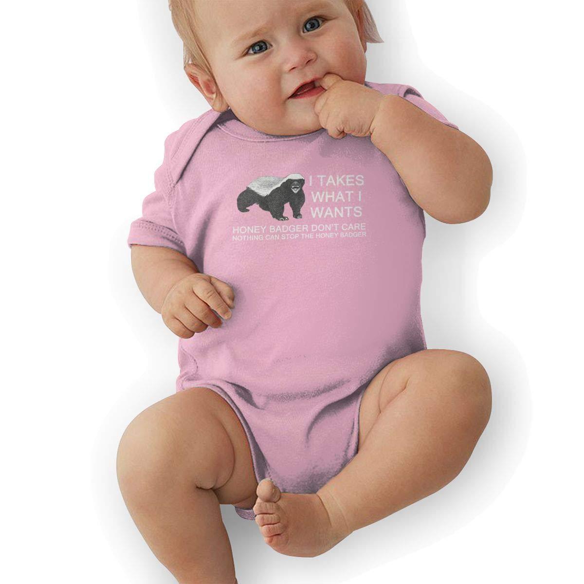 Toddler Baby Boys Bodysuit Short-Sleeve Onesie I Takes What I Wants Honey Badger Print Rompers Autumn Pajamas