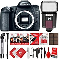 Canon EOS 70D 1080P Digital SLR Camera w/ 128GB - 20PC Power Grip Bundle - Automatic Flash with Built In Video Light - 50 Tripod - 72 Mono Pod - X-Grip Handle - Wireless Remote