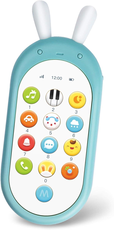 Richgv Teléfono Infantil Juguetes Bilingüe, Juguete Electrónico para Bebés,Educativos Juguetes Niñas Niño, Telefono Móvil con Luces, Musical, Sonidos y Canciones en Inglés (Azul)