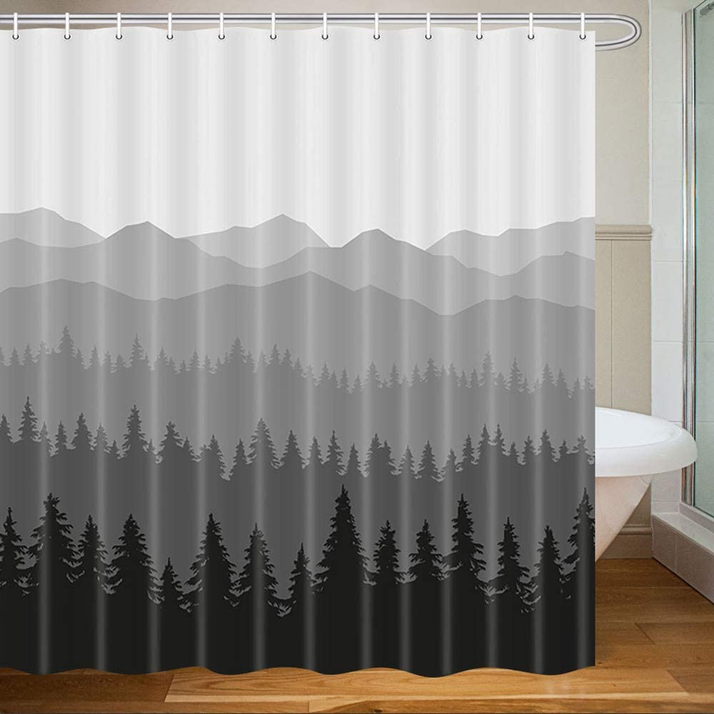 MERCHR Rustic Mountain Forest Shower Curtain, Fantasy Fog Tree Scenery Nature Print Neutral Bathroom Decor, Gray Black Fabric Shower Curtains, 71X71 Inches