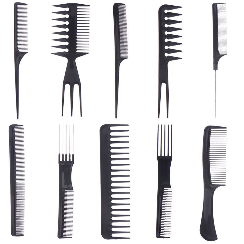 10pcs Professional Salon Hair Styling Hairdressing Hairdresser Barbers Combs Set IIOOII
