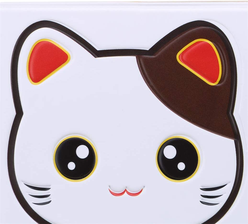 Kshcf Passport Cover Simple PVC Leather Cute Cartoon Fortune Lucky Cat ID Card Bag Credit Card Holder Multi-Function Certificate Set Travel Wallet Case Protector