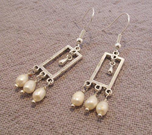 Freshwater Pearl Chandelier - White freshwater pearl mini chandelier earrings