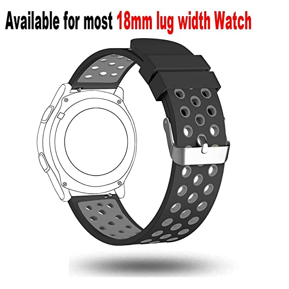 18mm Watch Band-Budesi Soft Silicone Quick Release Wrist Strap for Huawei Watch LG Watch Style and All Other Width 18mm Smart Watch XL Size