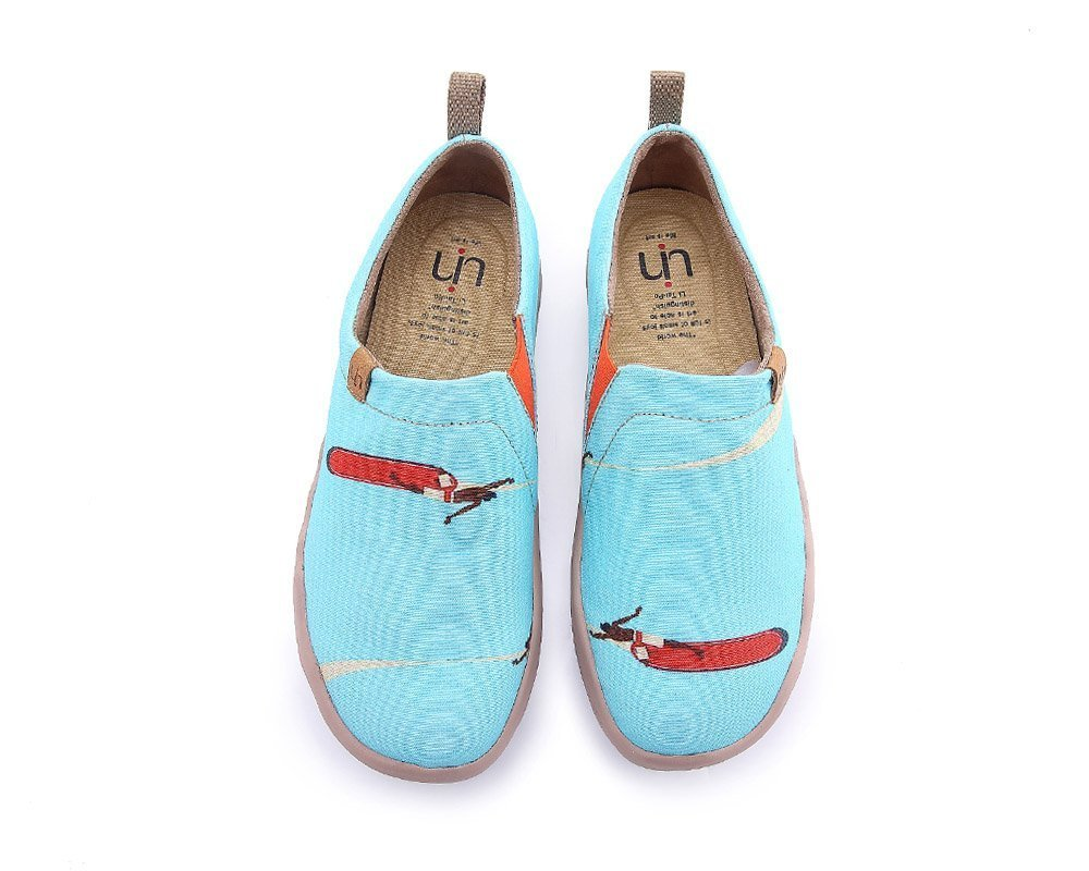 UIN Women's Hawaii Surfing Canvas Travel Slip On Shoe Blue (7) by UIN (Image #1)