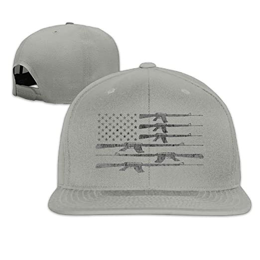 Amazon.com  TMD YOUNG-CAP Big American Flag With Machine Guns 2A Flag Plain  Adjustable Snapback Hats Caps Flat Bill Visor  Clothing 34bfd533ab6