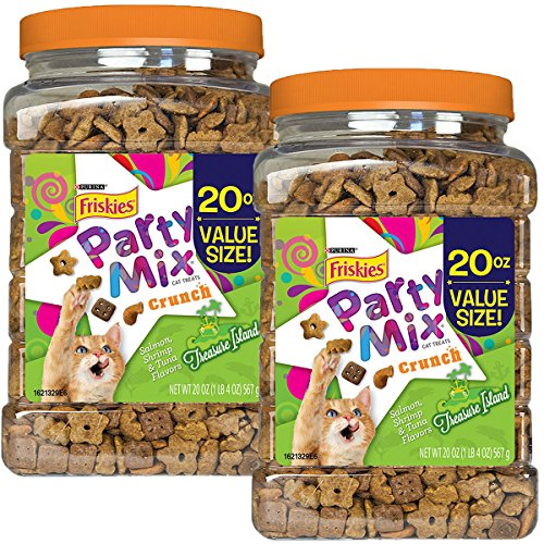 Purina Friskies Party Mix Treasure Island Crunch, Salmon, Shrimp, and Tuna Flavors, 20-Ounce Canister