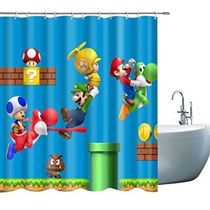 Kid Cartoon Shower Curtain Waterproof Polyester Fabric Print Boy Bathroom Drape For Dinosaur Super Mario Blue