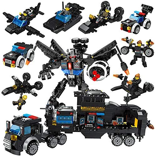 Lucky Doug 701PCS Building Bricks Set 26 in 1 Police Car Building Toys Can Build Transformers Heavy-Duty Cars Classic Creative Building Blocks Set CompatibleAll Major Brands for Kids Ages 6+
