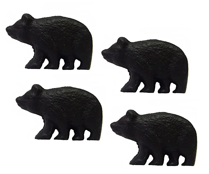 Rustic Black Bear Drawer Pulls (Set of 4 Knobs)