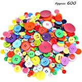 600-700 Pieces Resin Buttons Assorted Colors and Shapes Buttons for DIY Crafts Sewing Decorations, 2 Holes and 4 Holes