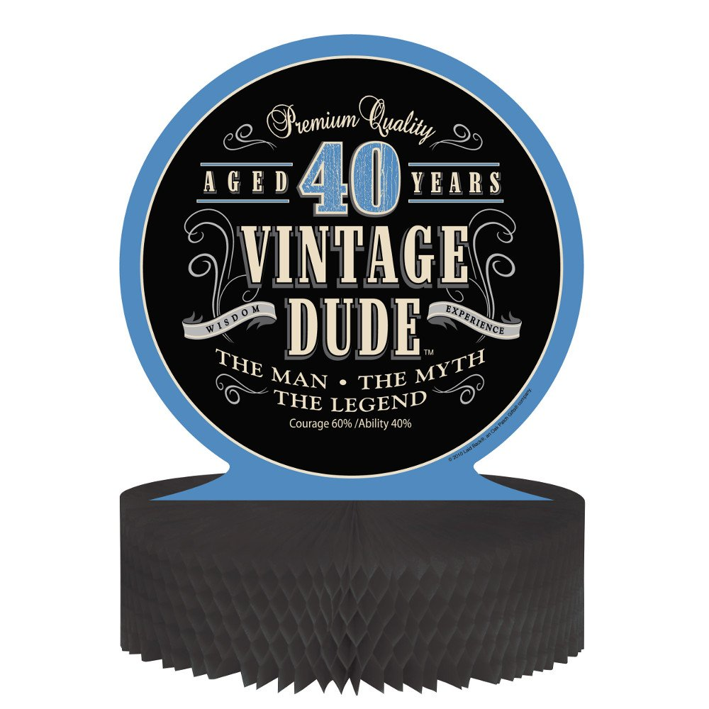 Creative Converting Vintage Dude 40th Birthday Centerpiece with Honeycomb Base 264067