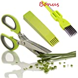 SUMCOO Stainless Steel 5 Blade Kitchen Herb Shears Scissors With Clean Comb,Office Paper and Herb cutting, Chopping and Shredding Scissors With Cover (herb scissor)
