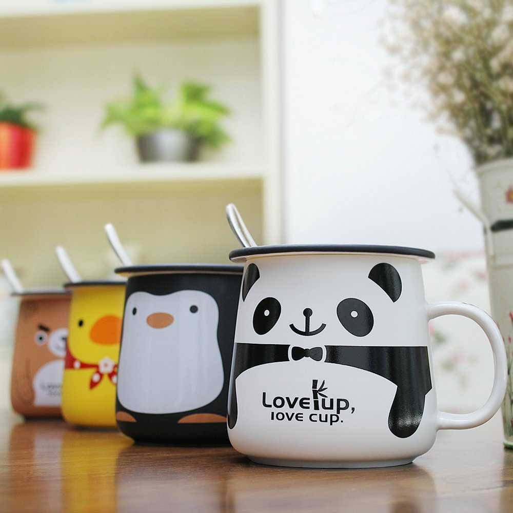 UPSTYLE Cute Animal Penguin Tea Mug Funny Lovely Tea and Coffee Mug Morning Coffee Milk Ceramic Water Cup with Lid and Handle for Office home - Best Gift for friends and family,10.8OZ(320ml)(Bear) by UPSTYLE (Image #6)