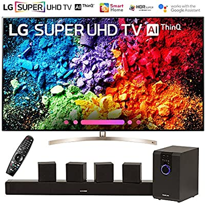 "LG 65SK9500PUA 65"" Super UHD 4K HDR AI Smart TV w/Nano Cell (2018 Model) with Sharper Image 5.1 Home Theater System w/Subwoofer, Sound Bar & Satellite Speakers"