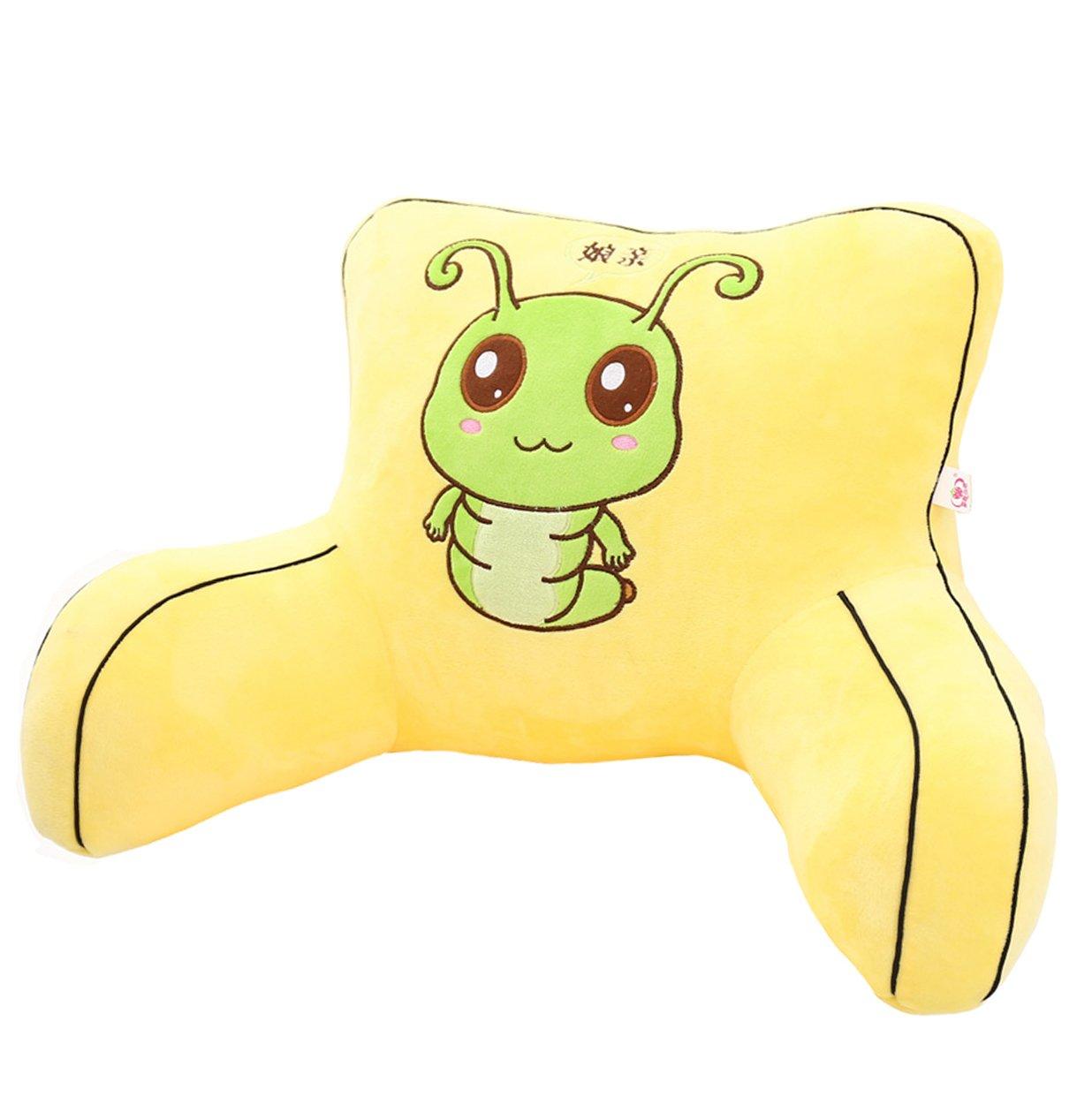 Adorable Yellow Caterpillar Lumbar Support Backrest Pillow Waist Seat Back Cushion Pillow in Home Office School Car