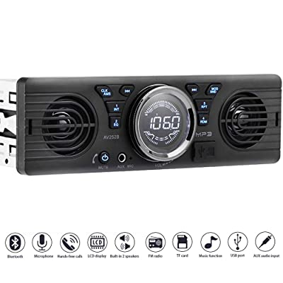 PolarLander Universal 1 Din 12V in-Dash Car Radio Audio Player Built-in 2 Speaker Stereo FM Support Bluetooth with USB/TF Card Port: Home Audio & Theater