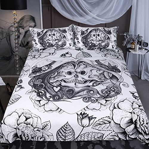Sleepwish Grunge Sugar Skull Bedding Mexican Day of The Dead Couple Set Heart Kiss Decorative 3 Piece Bedding Set with 2 Pillow Shams (Black and White, King) -