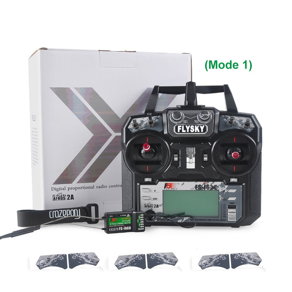 Flysky FS-i6X (Mode 1) TX + 1 Crazepony Strap , with Flysky iA6B Recever RX and Accessories --- 2.4GHz 10CH AFHDS 2A RC Transmitter TX with iA6B Receiver (Right Throttle ))