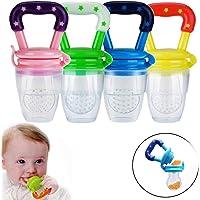 Chupete de frutas - Tfheey Brand 4 piezas Alimentador de alimentos para bebés, Chupete para alimentos frescos con Reemplazo de pezones de silicona - Juguete para niños Dentición Chupete Mordedor