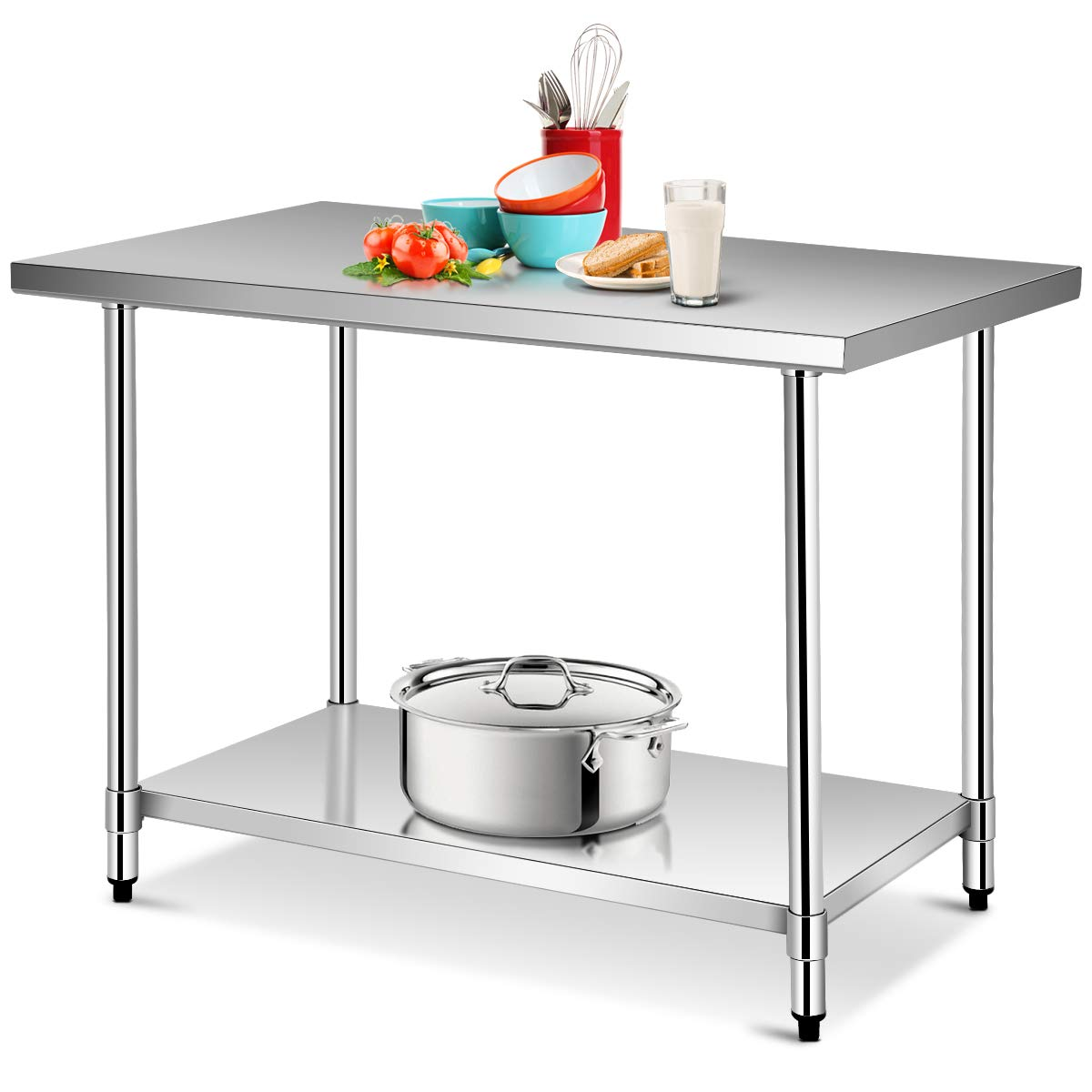 Giantex 48''x 30'' Food Prep Table Commercial Kitchen Work Table NSF Stainless Steel Work Table Kitchen Storage Table with Adjustable Shelf and Feet